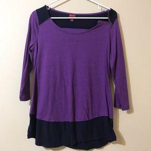 Merona purple zipper color block top